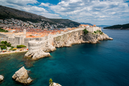 Historic wall of Dubrovnik Old Town, Croatia. Prominent travel destination of Croatia. Dubrovnik old town was listed as UNESCO World Heritage Sites in 1979. Editorial