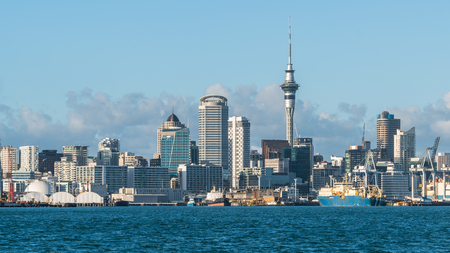 Auckland city skyline at city center and Auckland Sky Tower, the iconic landmark of Auckland, New Zealand. Stock Photo