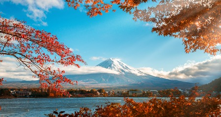 Colorful Autumn in Mount Fuji, Japan - Lake Kawaguchiko is one of the best places in Japan to enjoy Mount Fuji scenery of maple leaves changing color giving image of those leaves framing Mount Fuji. Stok Fotoğraf - 85159003