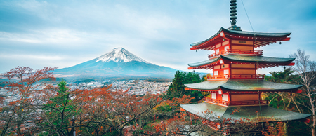 sengen: Mount Fuji and Chureito Pagoda at sunrise in autumn, Japan. The Pagoda is in Arakura Sengen Shrine where tourist can see Mt Fuji from panoramic view, one of the most famous view of Fuji Mountain. Editorial