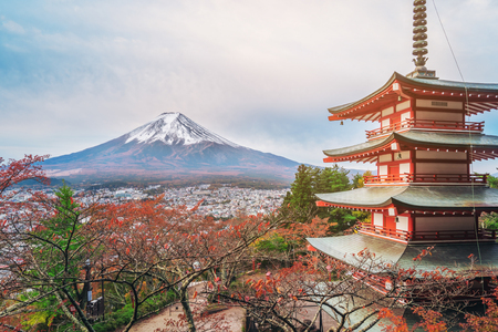 Mount Fuji and Chureito Pagoda at sunrise in autumn, Japan. The Pagoda is in Arakura Sengen Shrine where tourist can see Mt Fuji from panoramic view, one of the most famous view of Fuji Mountain. Editorial