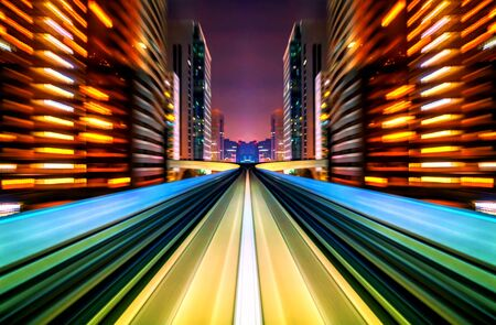 curve road: Motion blur future vehicle moving in city road or rail. Future abstract background.