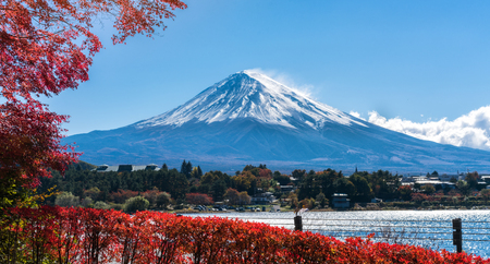 Autunno colorato sul Monte Fuji, Giappone - Il lago Kawaguchiko è uno dei posti migliori in Giappone per godersi il paesaggio del Monte Fuji delle foglie d'acero che cambiano colore dando l'immagine di quelle foglie che incorniciano il Monte Fuji. Archivio Fotografico - 85416219