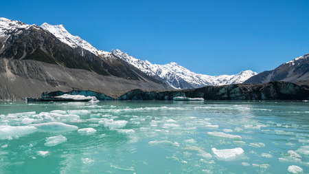 Beautiful turqouise Tasman Lake created by the melting Tasman Glacier in Mount Cook National Park, New Zealand South Island. Stock Photo