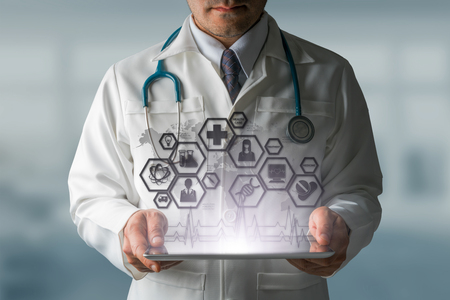 doctoral: Medical Science Concept - Doctor in hospital lab with medical research icons in modern interface showing symbol of medicine innovation, medical treatment, discovery and doctoral analysis.