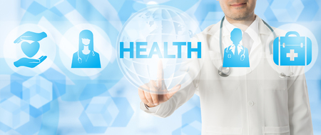 web portal: Health Care Concept - Doctor points at HEALTH with icons showing symbol of healthcare people, medical bag and patient caring against blue abstract background.