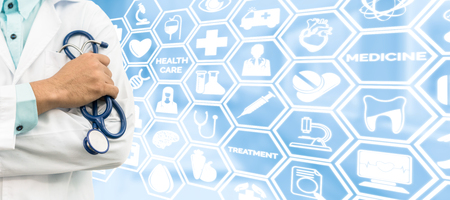 doctoral: Healthcare concept - Doctor on medical icons background showing symbols for healthcare person, medical treatment, emergency service, health technology research and medical insurance. Stock Photo
