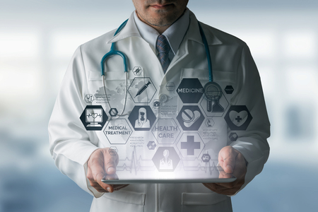 doctoral: Medical Healthcare Concept - Doctor in hospital with medical icons modern interface showing symbol of medicine, innovation, medical treatment, emergency service, doctoral data and patient health.