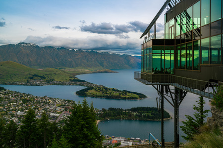 Queenstown, New Zealand and The Rarkables in Panoramic View. Editorial