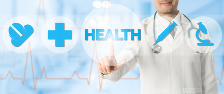 web portal: Health Care Concept - Doctor points at HEALTH with icons showing symbol of medicine pills, medical cross and hospital lab research against blue abstract background.