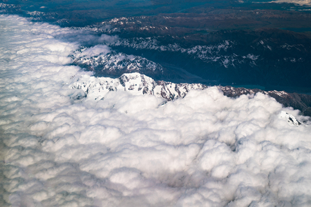 Aerial view of the peak of Mt Cook and mountain ranges in Mt Cook National Park, New Zealand. Stock Photo