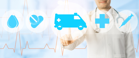 Emergency Service - Doctor points at ambulance and emergency medicine icon on medical background.