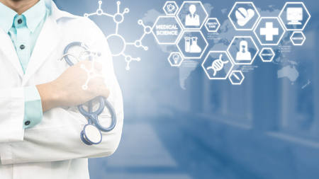 Medical Science Concept - Doctor in hospital lab with medical research icons in modern interface showing symbol of medicine innovation, medical treatment, discovery and doctoral analysis.