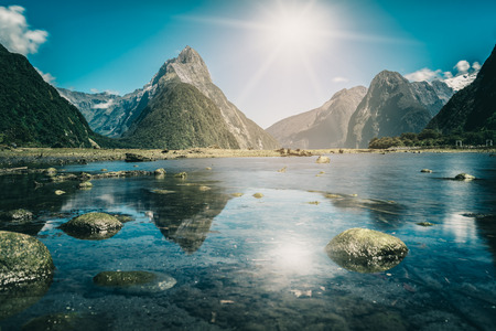 Milford Sound, New Zealand. - Mitre Peak is the iconic landmark of Milford Sound in Fiordland National Park, South Island of New Zealand, the most spectacular natural attraction in New Zealand.
