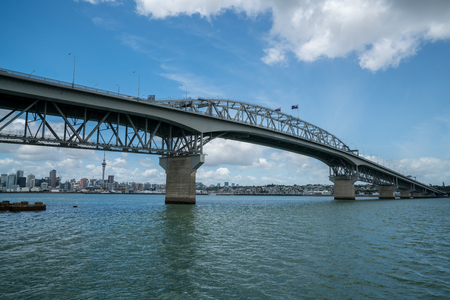 Auckland Harbour Bridge in Auckland, New Zealand, shot from Northcote Point. The bridge joins St Marys Bay on the Auckland city side with Northcote on the North Shore side. Stock Photo