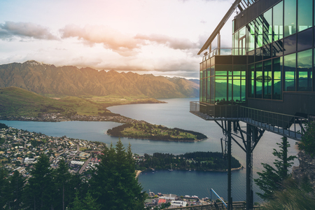 Queenstown, New Zealand and The Rarkables in Panoramic View. Stock Photo