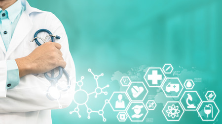 Medical Healthcare Concept - Doctor in hospital with medical icons modern interface showing symbol of medicine, innovation, medical treatment, emergency service, doctoral data and patient health.
