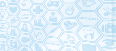 Medical background - Healthcare logo, doctor icon and medical symbol on blue background displaying healthcare person, medical treatment, emergency service, health research and medical insurance.
