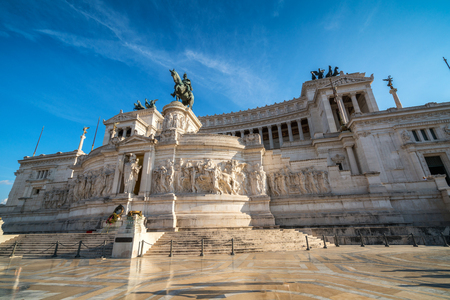 The Altare della Patria Altar of the Fatherland monument built in honor of Victor Emmanuel, the first king of a unified Italy, located in Rome, Italy. Editorial
