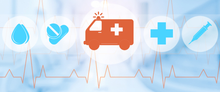 Ambulance and emergency service icon on blue background. Medical concept.