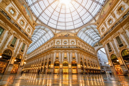 Milan, Italy - Sep 29, 2017: Galleria Vittorio Emanuele II in Milan, Italy is the oldest shopping mall of Milan. Galleria Vittorio Emanuele II was named after Victor Emmanuel II, first king of Italy.