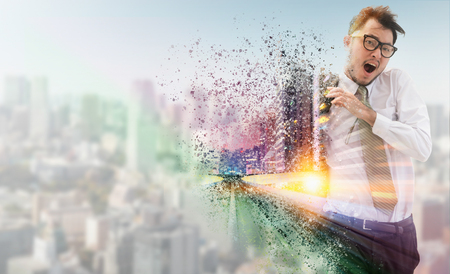 Double exposure surreal image of businessman running fast in the city with modern buildings cityscape in the backgrounds. Concept of business competitions.