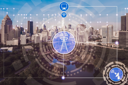 Smart city and wireless communication network concept - Internet of Things ( IOT ), Information Communication Technology ( ICT ) Stock Photo