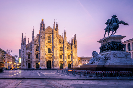 Duomo di Milano (Milan Cathedral) in Milan , Italy . Milan Cathedral is the largest church in Italy and the third largest in the world. It is the famous tourist attraction of Milan, Italy. Stock Photo