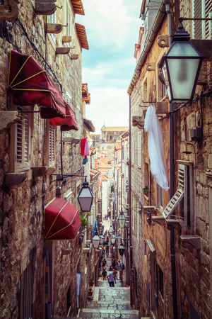 Famous narrow alley of Dubrovnik old town in Croatia - Prominent travel destination of Croatia.
