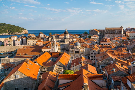 Panoramic view of Dubrovnik old town in Croatia - Prominent travel destination of Croatia.
