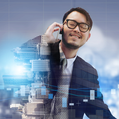 Double exposure image of businessman using mobile phone with modern business buildings and cityscape in the background. Digital innovation and technology disruption concept. Standard-Bild
