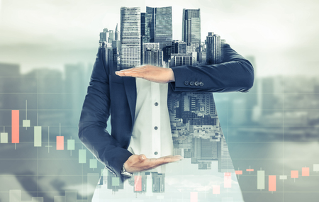 Surreal businessman open hand for your text - Businessman opening palms making hand gestures to build copy space for your business text or logo with modern city in background. Standard-Bild