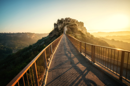 Civita di Bagnoregio is a beautiful old town in the Province of Viterbo in central Italy. Stock Photo
