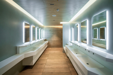 Modern design of public toilet and restroom. Luxury interior. Stock Photo