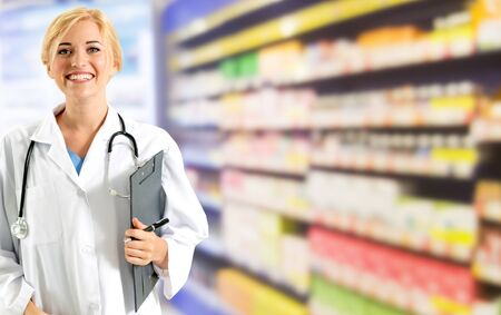Woman pharmacist working at pharmacy. Medical healthcare and doctor staff service. Reklamní fotografie
