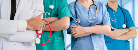 Healthcare people group. Professional doctor working in hospital office or clinic with other doctors, nurse and surgeon. Medical technology research institute and doctor staff service concept.