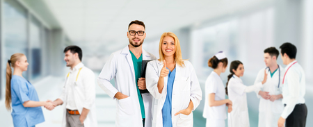 Healthcare people group. Professional doctor working in hospital office or clinic with other doctors, nurse and surgeon