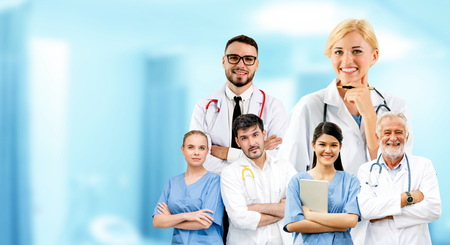 Healthcare people group portrait in creative layout. Professional medical staff, doctors, nurse and surgeon.