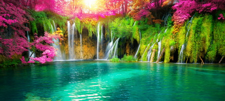 Exotic waterfall and lake landscape of Plitvice Lakes, natural and famous travel destination of Croatia. The lakes are located in central Croatia (Croatia proper).