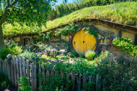 Matamata, New Zealand - Dec 11, 2016: Hobbiton movie set created for filming The Lord of the Rings and The Hobbit movies in North Island of New Zealand. It is opened for tourist who visit New Zealand.