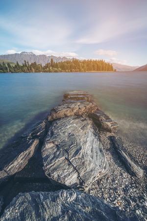 Beach of Lake Wakapitu in Queenstown, New Zealand 's South Island.