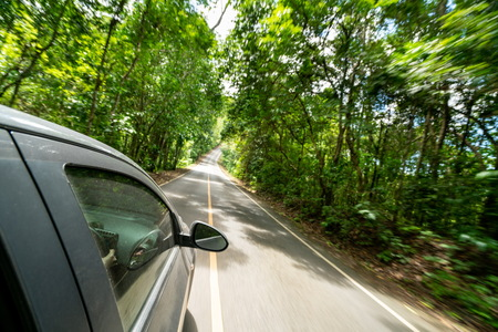Side view of black car driving on road in forest highway in summer. Travel and explore concept. 免版税图像