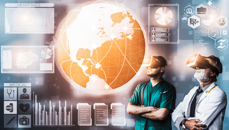 Medical Healthcare Research and Development Concept. Doctor in hospital lab with science health research icon show symbol of medical care technology innovation, medicine discovery and healthcare data. Reklamní fotografie