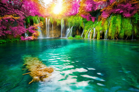 Exotic waterfall and lake landscape of Plitvice Lakes National Park,      famous travel destination of Croatia. The lakes are located in central Croatia (Croatia proper).