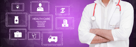 Medical Healthcare Concept - Doctor in hospital with digital medical icons graphic banner showing symbol of medicine, medical care people, emergency service network, doctor data of patient health. Stock Photo