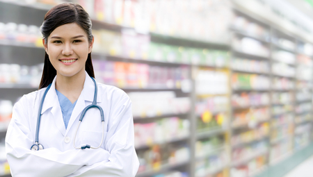 Professional doctor or pharmacist at the hospital or pharmacy. Medical healthcare business and doctor service.