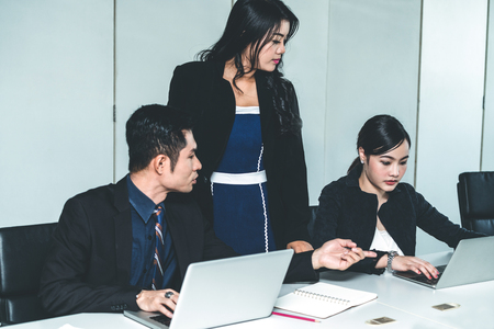 Business people in group meeting working in office room with colleagues. Corporate workplace concept. Imagens