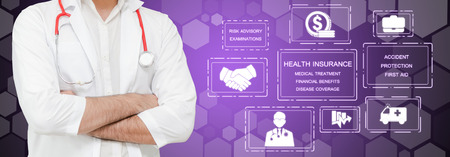 Health Insurance Concept - Doctor in hospital with health insurance related icon graphic interface showing healthcare people, money planning, risk management, medical treatment and coverage benefit. Foto de archivo