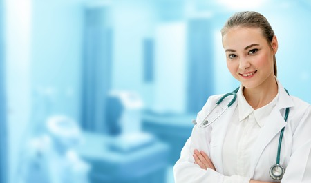 Woman doctor working at the hospital office. Medical healthcare and doctor staff service.