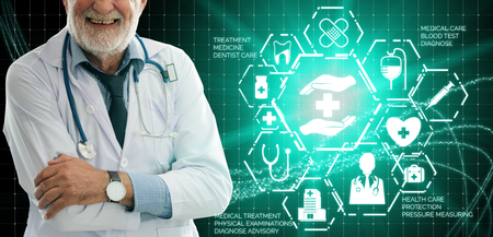 Medical Healthcare Concept - Doctor in hospital with digital medical icons graphic banner Stock Photo